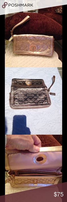 Authentic Coach Wristlet/Clutch-rose gold EUC. Rarely used. Color is RoseGold. Coach Bags Clutches & Wristlets