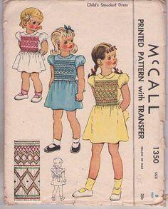 MOMSPatterns Vintage Sewing Patterns - McCall's 1350 Vintage 40's Sewing Pattern COLORFUL Girls Modest Puff Sleeve School Days Smocked Dress, Multi Color Smocking Trim, Transfer Size 8