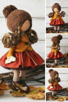 Autumn doll Handmade yellow red Tilda doll Cloth doll Art doll Fabric doll…