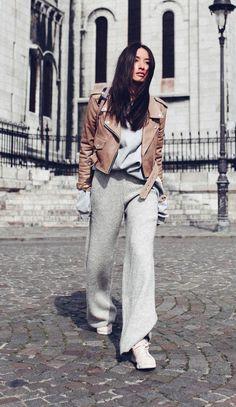 calça cinza tricot