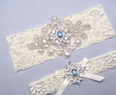 Blue Wedding Garter, Something Blue, Rhinestone Garter, Crystal Bridal Garter Set, Ivory or White Lace Garter, Keepsake Toss Garter, Prom - http://www.usedweddingresales.com/blue-wedding-garter-something-blue-rhinestone-garter-crystal-bridal-garter-set-ivory-or-white-lace-garter-keepsake-toss-garter-prom.html