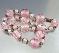 Vintage Foil Glass Bead Necklace Silver Pink Italian by boylerpf