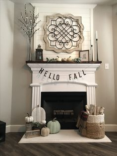 Awesome Farmhouse Fall Decor Ideas Perfect For Any Room Model « couponxcode… – Farmhouse Fireplace Mantels Fall Fireplace Decor, Home Fireplace, Faux Fireplace, Living Room With Fireplace, Fireplace Mantel Decorations, Decorating A Mantle, Fireplaces, Mantle Ideas, Decorating Ideas