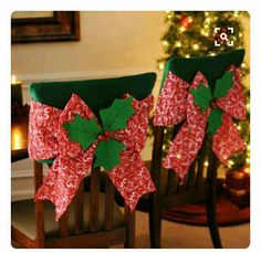 Our Red Poinsettia Chair Covers will add a burst of holiday cheer to your dining décor! With a slip design, this chair cover features a red bow & bell accents.Make Christmas entertaining easy with our Christmas kitchen decor. Christmas Sewing, Felt Christmas, Christmas Home, Christmas Holidays, Christmas Crafts, Christmas Ornaments, Winter Holiday, Christmas Kitchen, Christmas Table Settings