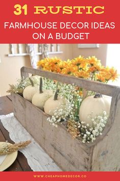 31 Rustic Farmhouse Decor Ideas on A Budget Save money with these farmhouse style home decor ideas! ... 31 Rustic Farmhouse Decor Ideas on A Budget. #Decor_Ideas_on_A_Budget | 7M Woodworking loves sharing tips for woodworking projects DIY & rustic interior design alongside unique handmade wooden tables, reclaimed barn beam lightning, and other woodworking projects. Check out www.7mwoodworking.com (312) 545-0331