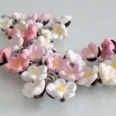 Sakura Cherry Blossom Charm Bracelet  Polymer Clay by beadscraftz, $60.00