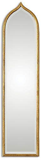 With its arched shape and frame finished in antiqued gold leaf, this beveled mirror would right at home in a Moroccan abode. Wood Mirror, Mirror Art, Beveled Mirror, Beveled Glass, Moroccan Mirror, Uttermost Mirrors, Oversized Wall Mirrors, Contemporary Wall Mirrors, Antique Frames