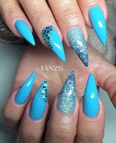 light blue glitter nails