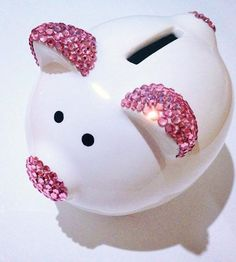 Items similar to Baby girl Swarovski rose pink encrusted first piggy bank perfect gift on Etsy Love Gifts, Baby Gifts, Adoption Gifts, Cute Pigs, Cute Little Things, Christmas Makes, Little Pigs, Pottery Painting, Preschool Crafts