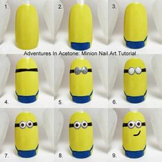 Minion Nail Art Tutorial!  #despicableme #movienails #nailart #howto - bellashoot.com