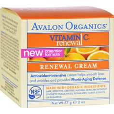 Avalon Organics Renewal Facial Cream Vitamin C - 2 oz - Avalon Organics Renewal Facial Cream Vitamin C Description:    Skin Nourishing  Antioxidant Intensive   Safe Effective Pro-Organic Skin Care Daily Firming Repair Enriched with Skin Smoothing Lipo-Filling Complex for Normal to Dry Skin Our Renewal Facial Cream with Vitamin C will energize your complexion with improved circulation clarity tone and texture. This nourishing blend of soothing organic botanicals powerful antioxidants and our…