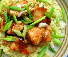 Lavender and Lovage | Easy 5:2 Fast Day Recipe: Chinese Garlic,Ginger and Honey Chicken with Noodles (200 Calories) | http://www.lavenderandlovage.com