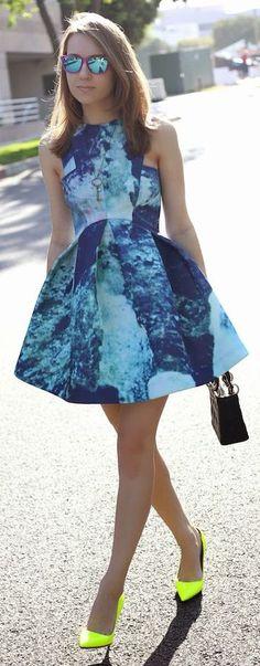 AQ/AQ Blue Auryn Print Perfect Skater Mini Dress by La By Diana Live Magazine