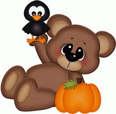 Silhouette Design Store - View Design bear laying down w crow pnc Halloween Clipart, Halloween Crafts, Teddy Bear Cartoon, Teddy Bears, Animal Cutouts, Pumpkin Images, Adornos Halloween, Laura Lee, Cute Clipart