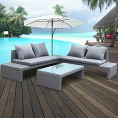 4-Piece Garden set with double couch, coffee table and side table.