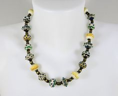 Tabitha Pearson, Bowerbird studio: statement necklace, glass bead necklace, handmade beads, women's necklace, necklace, ivory and silver glass, free domestic shipping by bowerbird1 on Etsy