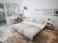 Beautiful bedroom with little place for writing plus outdoor comfort zone for reading. One for me, please :)