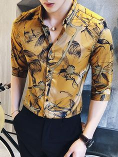 Tidebuy Unique Floral Men& Casual Shirt is part of Casual shirts for men - Mens Fashion Wear, Fashion Mode, Suit Fashion, Fashion 2020, Casual Shirts For Men, Men Casual, Casual Shoes, Terno Slim, Mens Printed Shirts