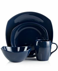 Dansk Dinnerware, Classic Fjord Nordic Blue 4-Piece Place Setting - Casual Dinnerware - Dining & Entertaining - Macy's