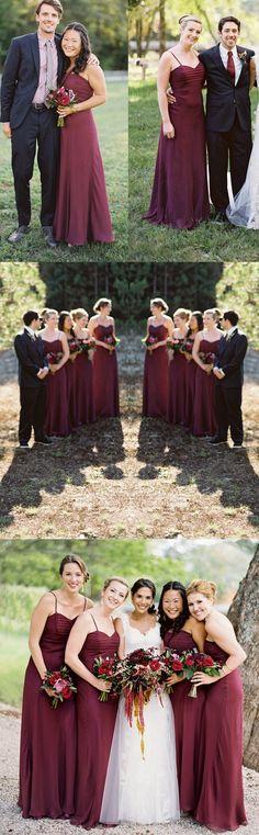 Long bridesmaid dress,Spaghetti Strap Bridesmaid Dress,Pleating Sweetheart Bridesmaid Dresses,Burgundy Bridesmaid Dresses,PD20065 - Thumbnail 1