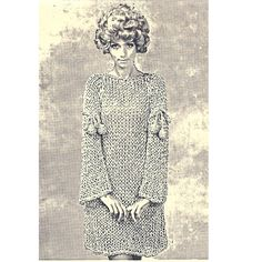 Big Needle Aline Knitted Mini Dress Pattern Long Bell Sleeve.  This dress is a loose-fitting A-line with long sleeves and a rounded neckline. Note the sleeve tie bands, ending with crochet covered ping pong balls --- how fun is that! The pattern, vintage 1960s, is quick and easy to make using Junior Jumbo Jet needles - size 32.