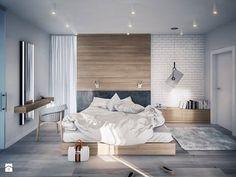 Drewno na ścianie świetnie prezentuje się również w sypialni! Podobne rozwiązania zaproponujemy Wam w http://eurostandard.pl/ - Topole 20 k/Chojnic. Zdjęcie: http://www.homebook.pl/inspiracje/sypialnia/225206_-sypialnia-styl-nowoczesny
