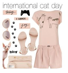 """""""International Cat Day"""" by pisces7 ❤ liked on Polyvore"""