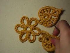 Цветок вязанный крючком. Мотив для ирландского кружева.