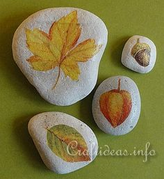 Find a paper napkin with fall leaves or other fall motifs and decoupage them onto the stones. It is so easy and the result looks great. Light colored stones are perfect for this project, but you can also paint darker stones white if you like.
