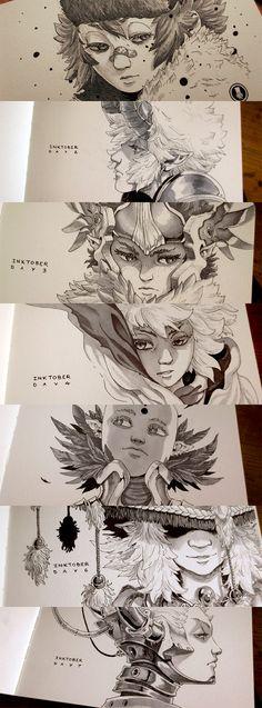 Inktober 2015 Week1, Xavier Collette on ArtStation at https://www.artstation.com/artwork/inktober-2015-week1