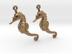 Sea Horse Earrings in Raw Brass