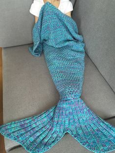 Knitted Classical Mermaid Blanket For Baby
