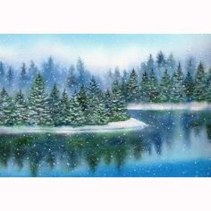 Watercolor print by Barbara Fox.  Winter Landscape.