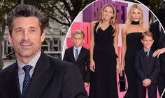 Dapper Patrick Dempsey looks giddy as he poses with his three children