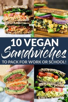 Make packing lunch for work or school FUN with these 10 delicious vegan sandwiches With everything from BLTs to egg salad you ll never get bored emilieeats sandwichrecipes veganlunchrecipes veganrecipes healthyrecipes Vegan Sandwich Recipes, Veggie Sandwich, Healthy Sandwiches, Vegetarian Recipes, Healthy Recipes, Vegan Soups, Tofu Recipes, Vegetarian Sandwiches, Packed Lunch Sandwiches