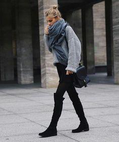 ▪️blue blanket scarf ▪️grey oversized sweater ▪️black shift dress/black skirt ▪️black over-the-knee boots