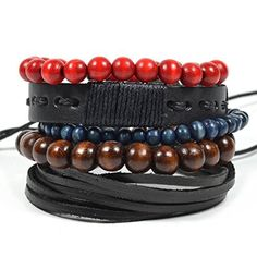 5 Piece Multi Layered Bracelet Set with Beaded Bracelets and Leather by Tag Twenty Two -- Awesome products selected by Anna Churchill