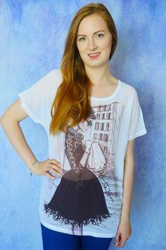 Damska szyfonowa koszulka z nadrukiem, motyw Audrey Hepburn - Śniadanie u Tiffany'ego | Dariza