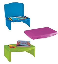 SmartLap folding lap desk - this isn't specifically for children. It has spacious interior storage, and can be used flat or with the legs extended. I've had mine for years. You can find it with cheaper shipping on Amazon. (Walmart.com sells it, but the vendor is Miles Kimball, which has very high shipping and terrible customer support).
