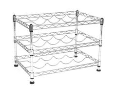 """Seville Classics Stackable Wine Rack, by by Dimensions: D x W x H Holds 12 Wine Bottles Snug & Secure """" Conveniently Stackable (hardware included)"""" Commercial strength UltraZinc plated steel Easy assembly with no tools required Wire Storage, Storage Spaces, Spiral Wine Cellar, Stackable Wine Racks, Wine Caddy, Standing Shelves, Wine Refrigerator, Wine Collection, Hanging Racks"""