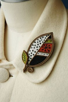 Felt and zipper  leaf brooch by woollyfabulous on Etsy