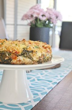 tuna rice pie with spinach and mozzarella. EXCHANGE RICE FOR QUINOA, LENTILS, ETC