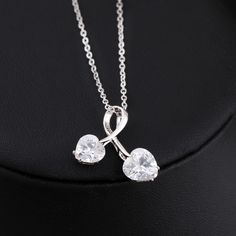 45cm Platinum Plated Fashion Double Hearts Design Inlay Zircon Pendant Copper Necklace