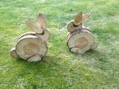 Wood slice bunnies: