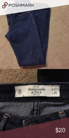 Abercrombie & Fitch skinny jeans Worn, but still in good condition. Dark wash, skinny jeans. Size 4 short. Abercrombie & Fitch Jeans Skinny