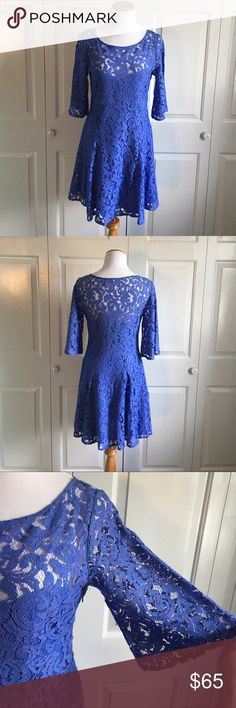"""FREE PEOPLE Lace Dress Beautiful deep Periwinkle Lace Dress from FREE PEOPLE. Zipper side. 35"""" bust, 35"""" length. Hits above the knee on me, (I'm 5'5"""") Elbow length bell sleeves. Excellent condition. No flaws. Size 6. Free People Dresses"""