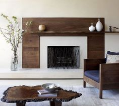 Living Room And Lounge Gallery at Modern Fireplace Surrounds Modern Fireplace Mantels, Wood Mantels, Home Fireplace, Fireplace Remodel, Fireplace Ideas, Modern Fireplaces, Modern Mantle, Modern Rustic, Wooden Fireplace