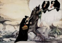 The witch and the vultures from Walt Disney's SNOW WHITE AND THE SEVEN DWARFS