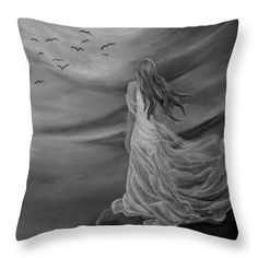 Angel Throw Pillow featuring the drawing Up High by Faye Anastasopoulou