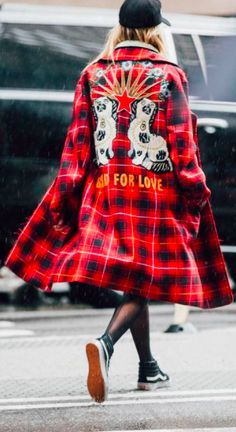 Shop now. Helena Bordon. Gucci Coat. Resort collection 2017 Coat Red and black bonded wool tartan Spaniel dogs and rays with flowers appliqué.